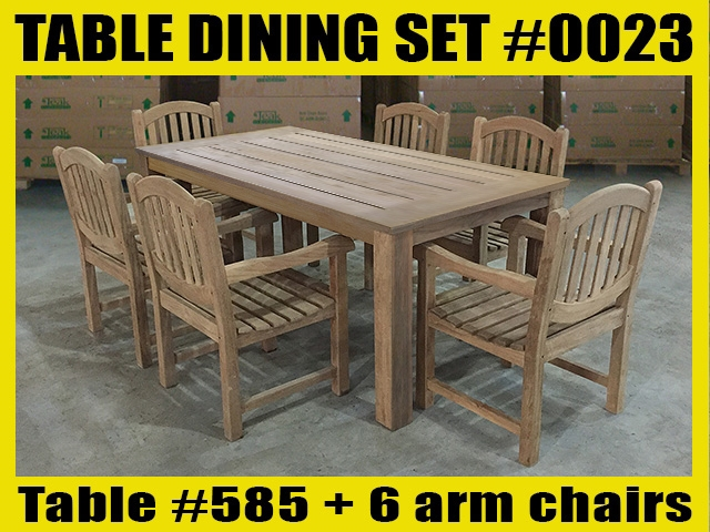 "Reclaimed 79"" Teak Table SET #0023 w/ 6 Manchester Arm Chairs"