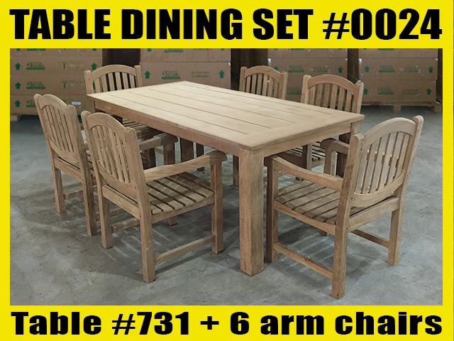"Reclaimed 87"" Teak Table SET #0024 w/ 6 Manchester Arm Chairs"