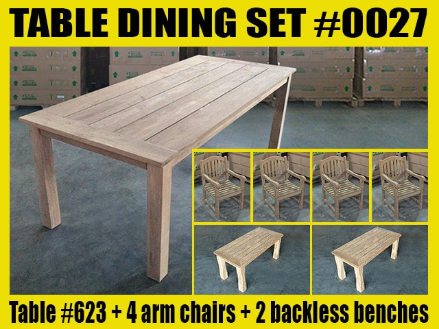 "Reclaimed 87"" Teak Table SET #0027 w/ (2) 90cm/36"" Juwana Backless Bench + (4) Manchester Arm Chairs"
