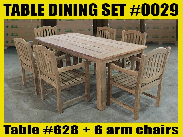 "Reclaimed 87"" Teak Table SET #0029 w/ 6 Manchester Arm Chairs"