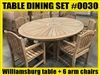 Williamsburg Oval Teak Dining Table SET #0030 w/ 8 Manchester Arm Chairs