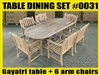 Gayatri Oval Extension Teak Table 180cm x 100cm - Extendable To 240cm SET #0031 w/ 6 Sumbawa Arm Chairs