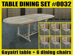 Gayatri Oval Extension Teak Table 180cm x 100cm - Extendable To 240cm SET #0032 w/ 6 Menika Dining Chairs