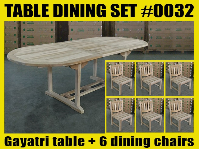 Gayatri Oval Extension Teak Table 180cm x 100cm - Extendable To 240cm SET #0032 w/ 6 Novi Dining Chairs