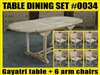 Gayatri Oval Extension Teak Table 150cm x 90cm - Extendable To 200cm SET #0034 w/ 6 Shelia Premium Folding Chairs