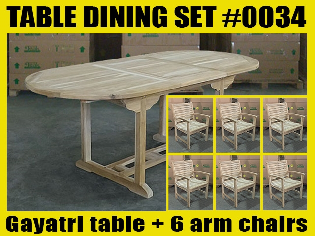Gayatri Oval Extension Teak Table 150cm x 90cm - Extendable To 200cm SET #0034 w/ 6 Palu Arm Chairs