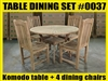 "47"" Komodo Teak Round Table SET w/ 4 Menika Dining Chairs"