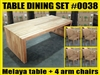 "Melaya Rectangle Teak Table 220 x 100cm (87""x39"") SET #0038 W/ 4 Sanur Arm Chairs"