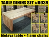 "Melaya Rectangle Teak Table 220 x 100cm (87""x39"") SET #0039 W/ 4 Sulawesi Arm Chairs"