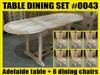 Adelaide Oval Extension Teak Table 120cm x 70cm - Extendable To 180cm SET #0043 w/ 6 Middleton Dining Chairs