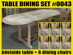 Adelaide Oval Extension Teak Table 120cm x 70cm - Extendable To 180cm SET #0043 w/ 6 Shelia Classic Folding Chairs