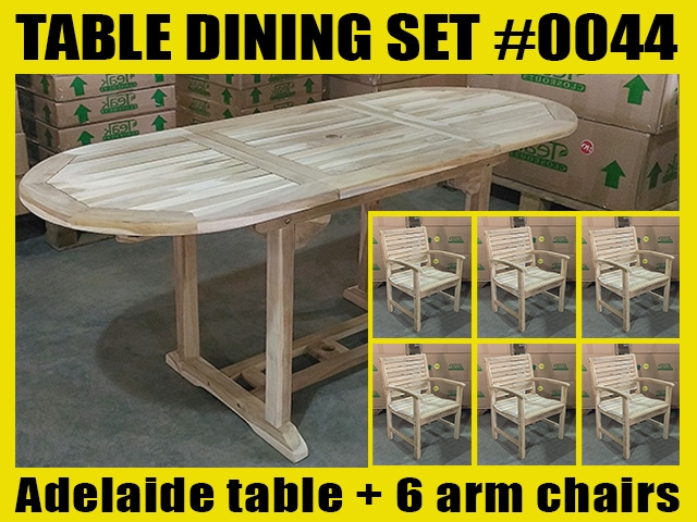 Adelaide Oval Extension Teak Table 120cm x 70cm - Extendable To 180cm SET #0044 w/ 6 Palu Arm Chairs