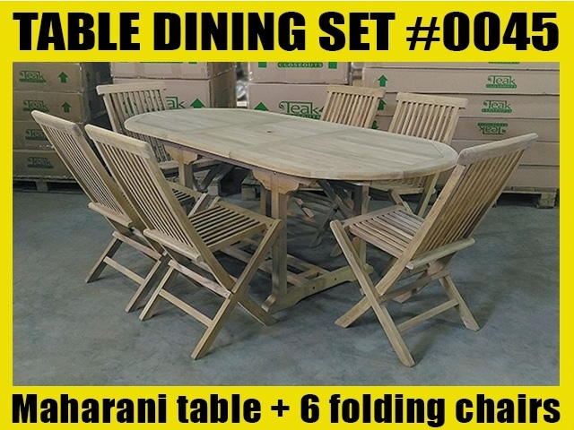 Maharani Oval Teak Table 150cm x 90cm - Extends to 200cm SET #0045 w/ 6 Shelia Classic Folding Chairs