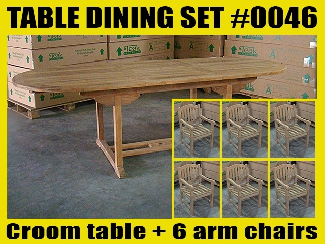 Croom Oval Extension Teak Table 180cm x 100cm - Extendable To 240cm SET #0046 w/ 6 Manchester Arm Chairs