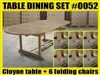 Cloyne Oval Extension Teak Table 180cm x 120cm - Extendable To 240cm SET #0052 w/ Shelia Premium Folding Chairs