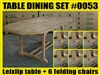 Leixlip Oval Extension Teak Table 150cm regular to 210cm w/ Extension x 100cm width SET #0053 w/ 8 Hampton Folding Chairs