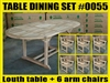 Louth Oval Extension Teak Table 150cm Regular To 200cm W/ Extension x 100cm Width SET #0055 w/ 6 Cross Arm Chairs