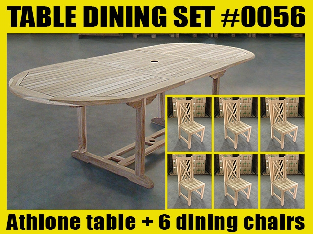 Athlone Oval Extension Teak Table 180cm x 100cm - Extendable To 240cm SET #0056 w/ 6 Middleton Dining Chairs