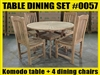 "47"" Komodo Teak Round Table SET #0057 w/ 4 Menika Dining Chairs"