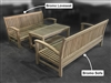 Bromo Teak Deep Seating Set (1) Loveseat + (1) Sofa + (1) Coffee Table