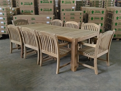 Rinjani Teak Rectangle Table 240 x 100cm w/ 8 Sumbawa Arm Chairs