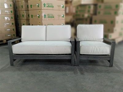 Georgia Teak Deep Seating Sofa + Deep Seating Chair Set w/ Cushion