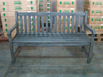 "150cm/60"" Roberto Teak Bench Special Finish Grey"