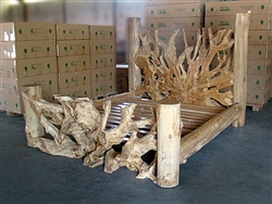 Massive Teak Root Bed - King Size