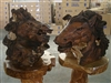 Teak Horse Head Sculpture - Set 2