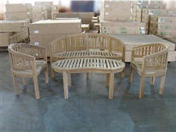 Peanut/Banana Teak Set - 1 Bench, 2 Chairs, 1 Table