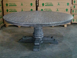 Teak Reclaimed Round Table Grey/Black 180cm  #0151