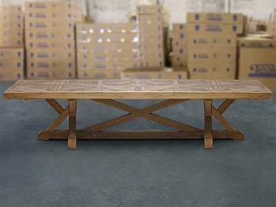 British Gardens FSC Recycled Teak Trestle Table 400x110cm #100