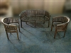 Peanut/Banana Teak Set - 1 Bench, 2 Chairs