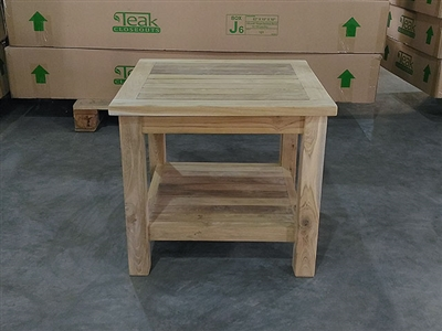 Teak Side Table - Tata w/ Lower Shelf