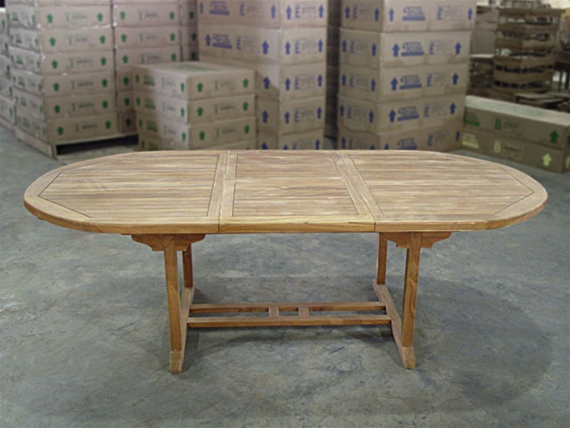 Ballina Oval Extension Table Cmcmx - Teak oval extension dining table