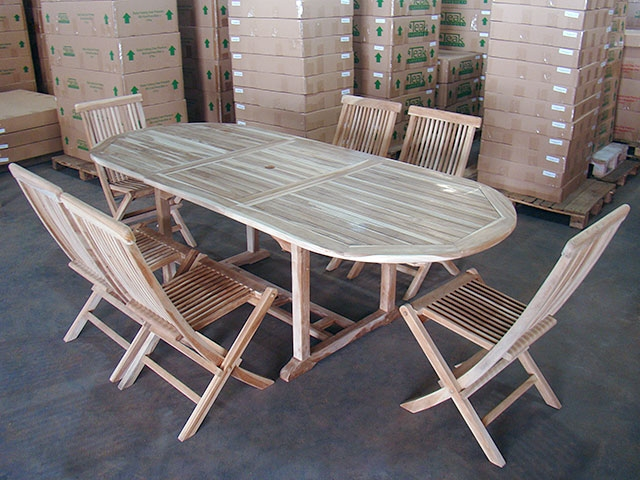 & Dina Teak Table Set w/ Shelia Folding Chairs