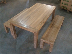 Iniskeen RecycledTeak Table + 2 Backless Bench Set