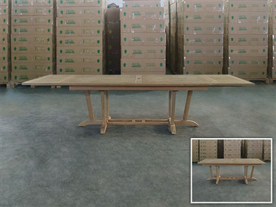 Papandayan Rectangle Double Extension Teak Table 200cm Regular to 290cm w/ Extension x 100cm Width