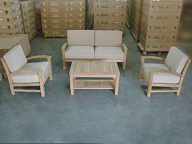Sofa Set W Chairs And Coffee Table - Teak deep seating patio furniture
