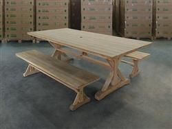 Bagus Rectangle Teak Table + 2 Backless Bench Set