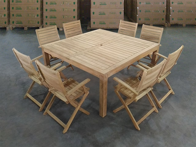 Katana Teak Square Table 150 X 150cm Set W 8 Ceram Folding Arm Chair