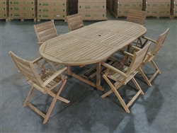Lampung Teak Table Set w/ Ceram Folding Arm Chairs (180cm x 120cm - extends to 240cm)