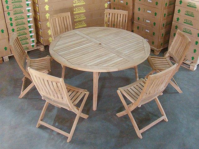 Teak Round Table w 6 Boma Folding Chairs
