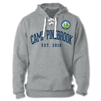 Sport Lace Hoodie made of 10 oz. blend of ringspun cotton/polyester. Printed with Camp Pinebrook logo left chest and Camp Pinebrook est. wordmark across the chest.