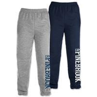 50/50 cotton/poly heavyweight sweatpants. Printed with Camp Pinebrook wordmark.