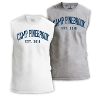 Shooter shirt made of 5.2 oz. blend of poly/cotton jersey. Printed with Camp Pinebrook wordmark.