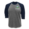 3/4-Raglan sleeve baseball shirt made of 5.3 oz. 100% cotton jersey. Printed with Camp Pinebrook logo.