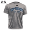 Under armor t-shirt made of 100% polyester moisture wicking and odor resistant fabric. Printed with Camp Pinebrook wordmark.