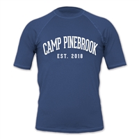 Rash guard t-shirt with UPF 50+. Printed with Camp Pinebrook logo.