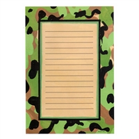 Camouflaged themed stationery for camp.